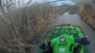 1. Kawasaki Prairie 700 and Honda Rancher 420: MUD HOLES & Trail Riding Until Dark