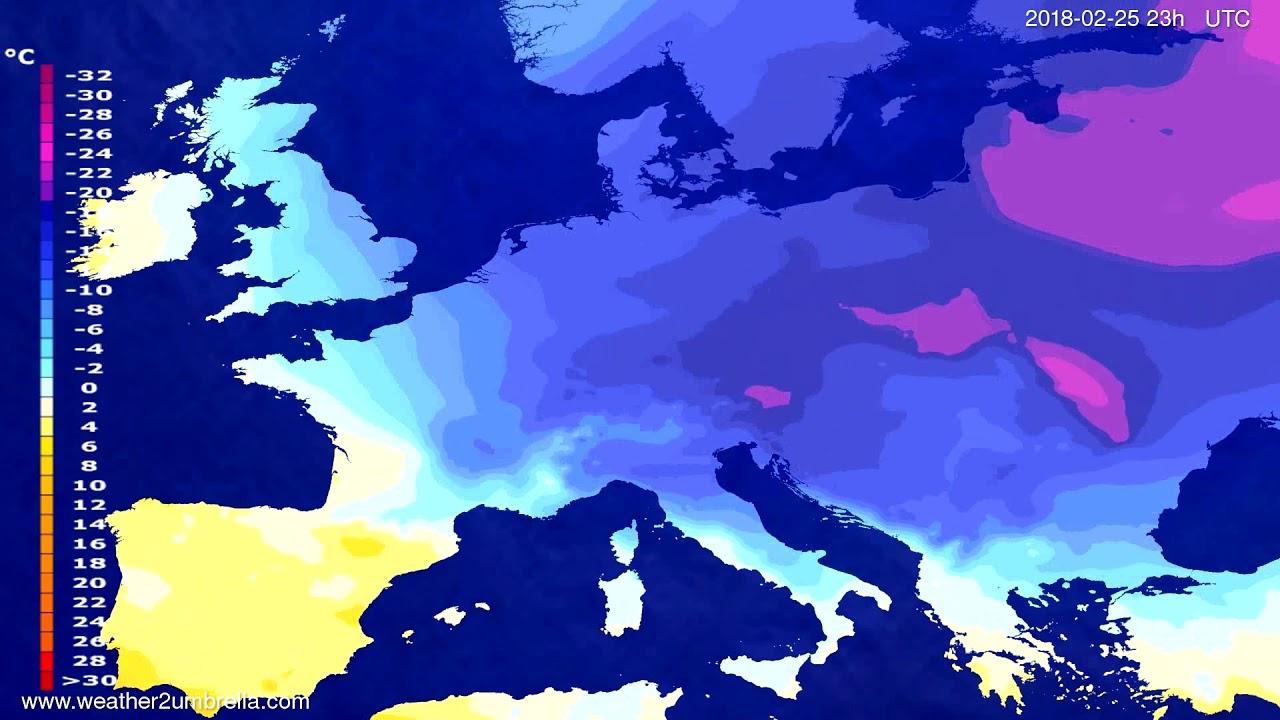 Temperature forecast Europe 2018-02-22