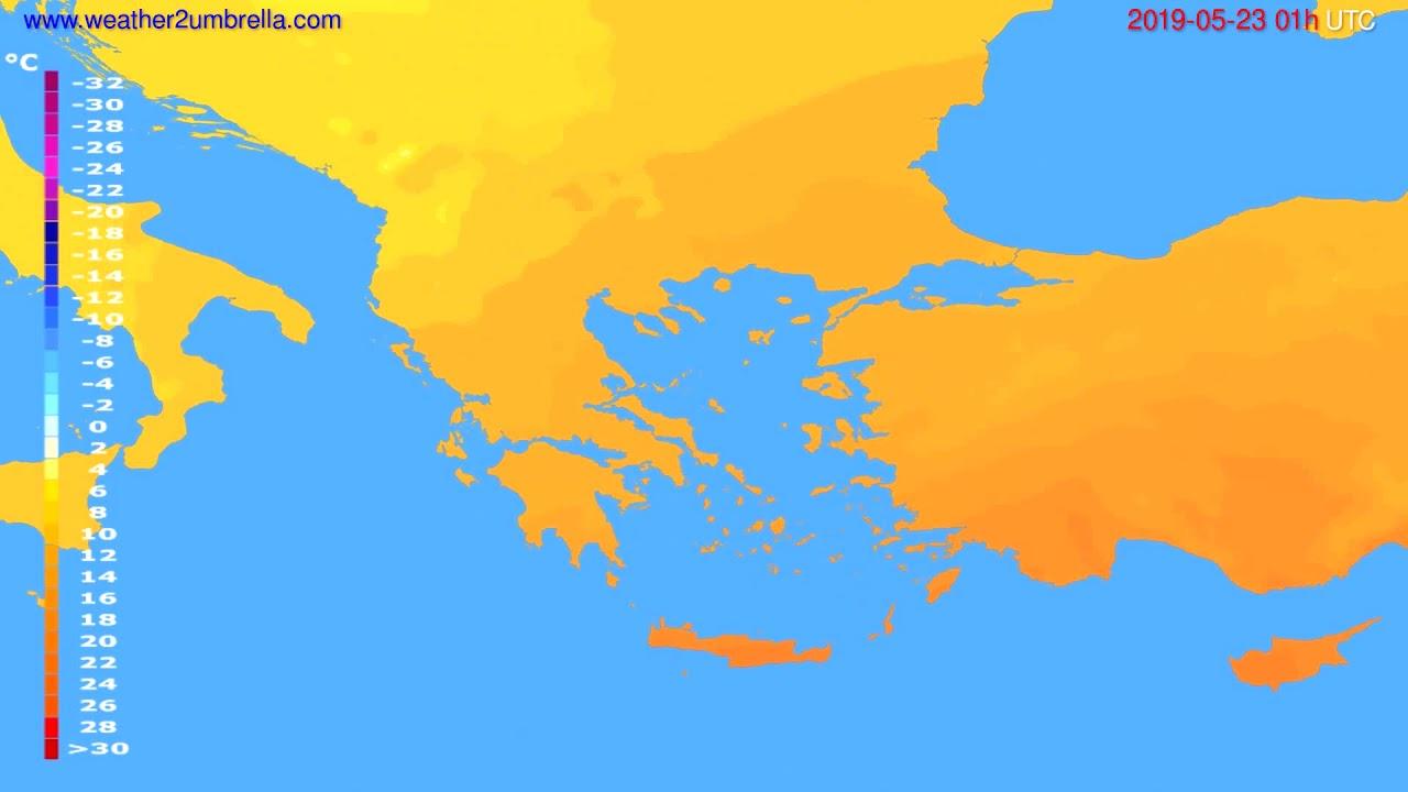 Temperature forecast Greece // modelrun: 00h UTC 2019-05-21