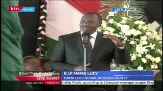 DP William Ruto's Tribute To Late Former First Lady Lucy Kibaki During Funeral Service