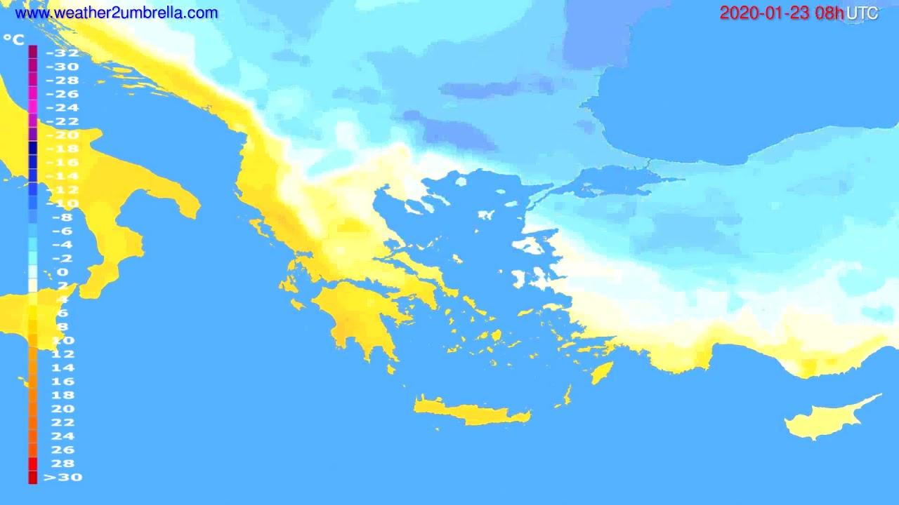 Temperature forecast Greece // modelrun: 12h UTC 2020-01-22