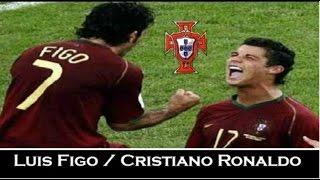 Luis Figo und Cristiano Ronaldo bei der EM 2004