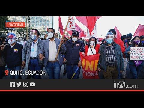 Organizaciones sociales participaron en una marcha en contra del gobierno -Teleamazonas
