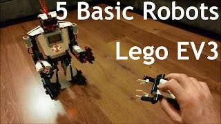 After using the NXT Lego set to make a telepresence robot, a book-scanning robot, a keyless home entry system, and other things it was well past time to have a tinker and play with the newer EV3 Lego robotics set. These 5 basic robots are the standard designs and programming that come with the EV3 set and are models that everyone with the EV3 set should be familiar with. The video is broken down as follows:0:02 - Time lapse build1:31 - Track3r Tank Bot2:31 - Ev3rstorm Humanoid Bot3:33 - Strik3r Scorpion Bot4:36 - R3ptar Snake Bot5:38 - Gripp3r Mover BotLego designers are fricken geniuses.