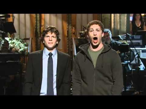 Mark Zuckerberg meets Jesse Eisenberg on SNL