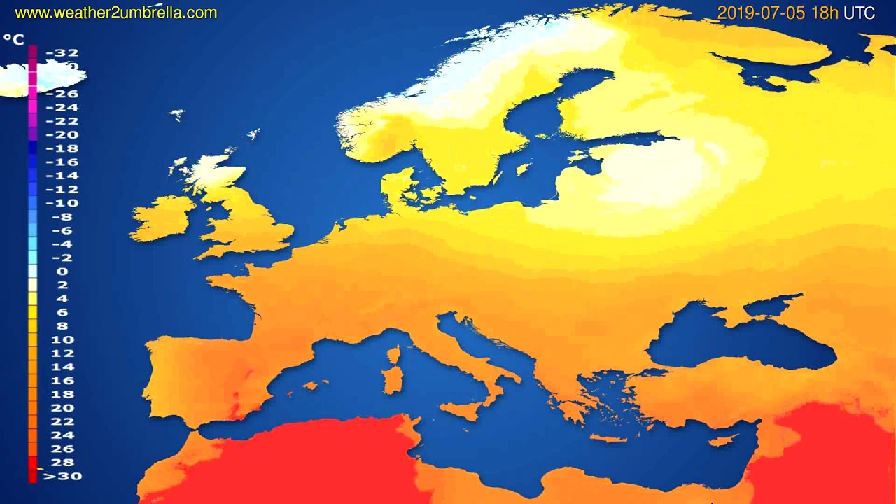Temperature forecast Europe // modelrun: 00h UTC 2019-07-03