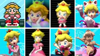 All of the Peach characters throughout the 8 console based Mario Kart titles from 1992 to 2017.  This includes the following characters: Princess Peach, Cat Peach, Baby Peach and Pink Gold Peach.Mario Kart Compilations Playlist:https://www.youtube.com/playlist?list=PLYpDU5ElRBfk6j5TRumX844YrXbpMZOXO