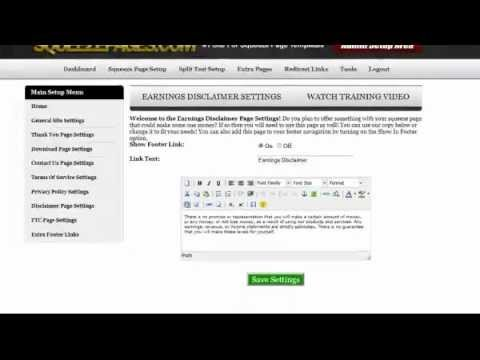 SQUEEZE PAGE TUTORIALS - EARNINGS DISCLAIMER SETTINGS