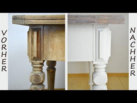 Tischplatte weiß lackieren  How to: Tisch im Shabby Chic Stil streichen/Wisch- oder ...