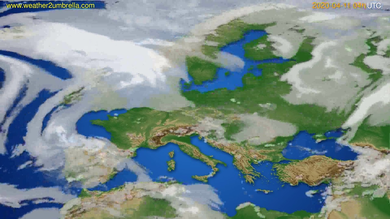 Cloud forecast Europe // modelrun: 12h UTC 2020-04-10