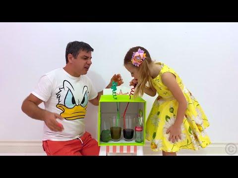 Nastya y papá juegan juegos divertidos para no aburrirse en casa