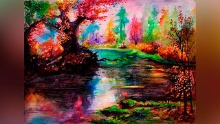 Speed Drawing Watercolor Landscape Time Lapse - Aquarelle Forest Landscape - Акварель Мастер Класс