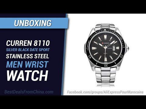 Unboxing Banggood CURREN 8110 Silver Black Date Sport Stainless Steel Men Wrist Watch