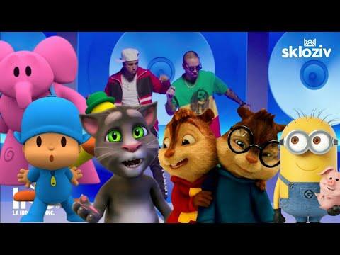sin pijama, mi gente, (x) equis, dura - Becky G Natty Natasha / pocoyo, Alvin, Minions, gato Tom