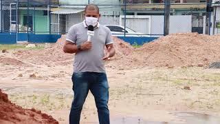 Obras inacabadas na praça dos esportes em Paripe