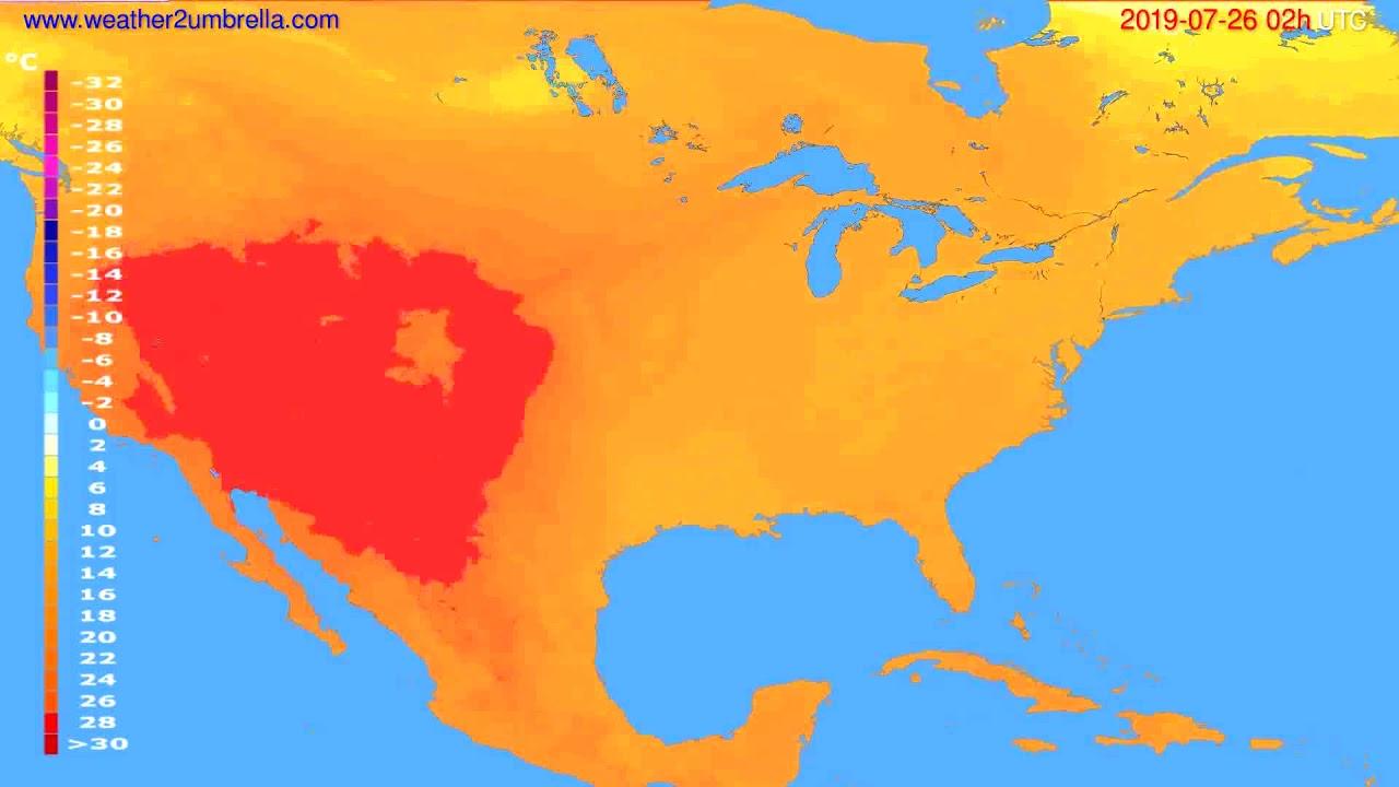 Temperature forecast USA & Canada // modelrun: 12h UTC 2019-07-23