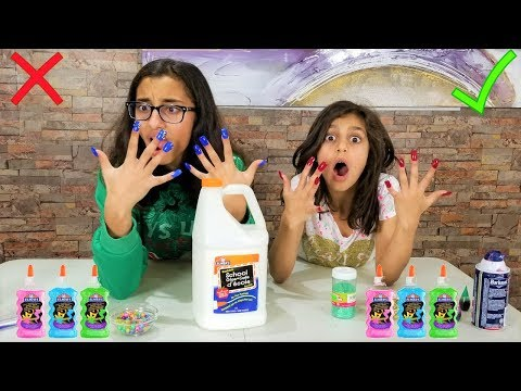 Making Slime with Super Long acrylic Nails Challenge!!!