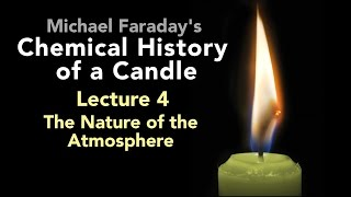 "Bill Hammack presents Lecture Four of Michael Faraday's lectures on The Chemical History of a Candle. A free companion book helps modern viewers understand each lecture — details at http://www.engineerguy.com — as does a commentary track and closed captions for each lecture.►Free Companion book to this video series http://www.engineerguy.com/faradayText of Every Lecture  Essential Background  Guides to Every Lecture  Teaching Guide & Student ActivitiesIn these lectures Michael Faraday's careful examination of a burning candle reveals the fundamental concepts of chemistry, while at the same time superbly demonstrating the scientific method. In this lecture Faraday investigates the properties of oxygen, nitrogen and carbon dioxide. LINKS TO OTHER VIDEOS IN THIS SERIES► Lectures(1/6) Introduction to Michael Faraday's Chemical History of a Candlehttps://www.youtube.com/watch?v=RrHnLXMTOWM(2/6) Lecture One: A Candle: Sources of its Flamehttps://www.youtube.com/watch?v=6W0MHZ4jb4A(3/6) Lecture Two: Brightness of the Flamehttps://www.youtube.com/watch?v=B8vSLgaW9WQ(4/6) Lecture Three: Products of Combustionhttps://www.youtube.com/watch?v=31pLJyReFXw(5/6) Lecture Four: The Nature of the Atmospherehttps://www.youtube.com/watch?v=v1DWHeouJYM(6/6) Lecture Five: Respiration & its Analogy to the Burning of a Candlehttps://www.youtube.com/watch?v=Fb4RoPEtwso► Bonus Videos: Lectures with CommentaryLecture One: A Candle: Sources of its Flame (Commentary version)https://www.youtube.com/watch?v=ce0g0e9NmgQLecture Two: Brightness of the Flame (Commentary version)https://www.youtube.com/watch?v=grWNnVB9B-4Lecture Three: Products of Combustion (Commentary version)https://www.youtube.com/watch?v=0s8anLurWp0Lecture Four: The Nature of the Atmosphere (Commentary version)https://www.youtube.com/watch?v=WLgxPKU-JsILecture Five: Respiration & its Analogy to the Burning of a Candle (Commentary version)https://www.youtube.com/watch?v=tCmZfnT6_M4►Subscribe now!  https://www.youtube.com/subscription_center?add_user=engineerguyvideo►Become an advanced viewer of Engineer Guy videos - help evaluate early draftshttp://www.engineerguy.com/previewCOMPANION BOOK DETAILSThe companion book is available as an ebook, in paperback and hardcover — and for free as a PDF. Details on all versions are at http://www.engineerguy.com/faradayMichael Faraday's The Chemical History of a Candlewith Guides to the Lectures, Teaching Guides & Student ActivitiesBill Hammack & Don DeCoste190 pages  5 x 8  14 illustrationsHardcover (Casebound)  ISBN 978-0-9838661-8-0  $24.95Paper ISBN 978-1-945441-00-4 $11.99eBook  ISBN 978-0-9839661-9-7  $3.99Audience: 01 — General TradeSubjectsSCI013000   SCIENCE / Chemistry / GeneralSCI028000   SCIENCE / Experiments & ProjectsSCI000000   SCIENCE / GeneralEDU029030  EDUCATION / Teaching Methods & Materials / Science & TechnologyThis book introduces modern readers to Michael Faraday's great nineteenth-century lectures on The Chemical History of a Candle. This companion to the YouTube series contains supplemental material to help readers appreciate Faraday's key insight that ""there is no more open door by which you can enter into the study of science than by considering the physical phenomena of a candle."" Through a careful examination of a burning candle,  Faraday's lectures introduce readers to the concepts of mass, density, heat conduction, capillary action, and convection currents. They demonstrate the difference between chemical and physical processes, such as melting, vaporization, incandescence, and all types of combustion. And the lectures reveal the properties of hydrogen, oxygen, nitrogen, and carbon dioxide, including their relative masses and the makeup of the atmosphere. The lectures wrap up with a grand, and startling, analogy: by understanding the chemical behavior of a candle the reader can grasp the basics of respiration. To help readers understand Faraday's key points this book has an ""Essential Background"" section that explains in modern terms how a candle works, introductory guides for each lecture written in contemporary language, and seven student activities with teaching guides.Author BiosBill Hammack is a Professor of Chemical & Biomolecular Engineering at the University of Illinois—Urbana, where he focuses on educating the public about engineering and science. He is the creator and host of the popular YouTube channel engineerguyvideo. Don DeCoste is a Specialist in Education in the Department of Chemistry at the University of Illinois—Urbana, where he teaches freshmen and pre-service high school chemistry teachers. He is the co-author of four chemistry textbooks."
