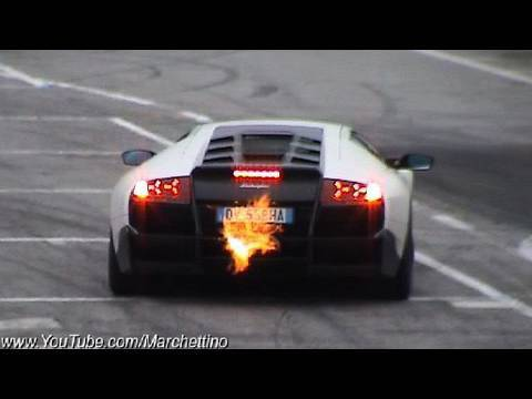 lamborghini lp670-4 superveloce - huge flames!