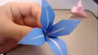 Origami Kağıt Katlama Sanatı Çiçek yapılışı