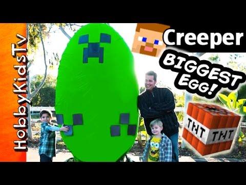 Worlds BIGGEST Minecraft CREEPER Surprise Egg! Toys + Play-Doh Giant TNT Explosion HobbyKidsTV