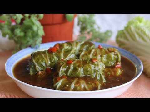 Chinese Stuffed Cabbage Rolls Recipe (白菜卷)