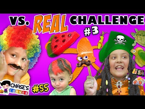GIANT GUMMY FOOD vs. REAL FOOD CHALLENGE #3 🍉 Chase's Corner Halloween Brothers |#55 DOH MUCH FUN (видео)