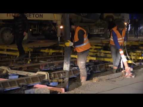 Tramvay hattına 58 bin m3 beton döküldü
