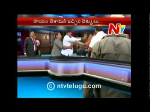 Ntv Telugu Live Fight Political Leaders (Neta) India Live Fight on TV 2010 New Telugu (видео)