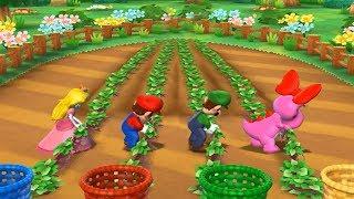 Mario Party 9 Garden Battle - Peach vs Mario vs Luigi vs Birdo| Cartoons Mee