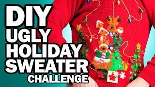 DIY Ugly Holiday Sweater Challenge - Man Vs Corinne Vs Pin by ThreadBanger