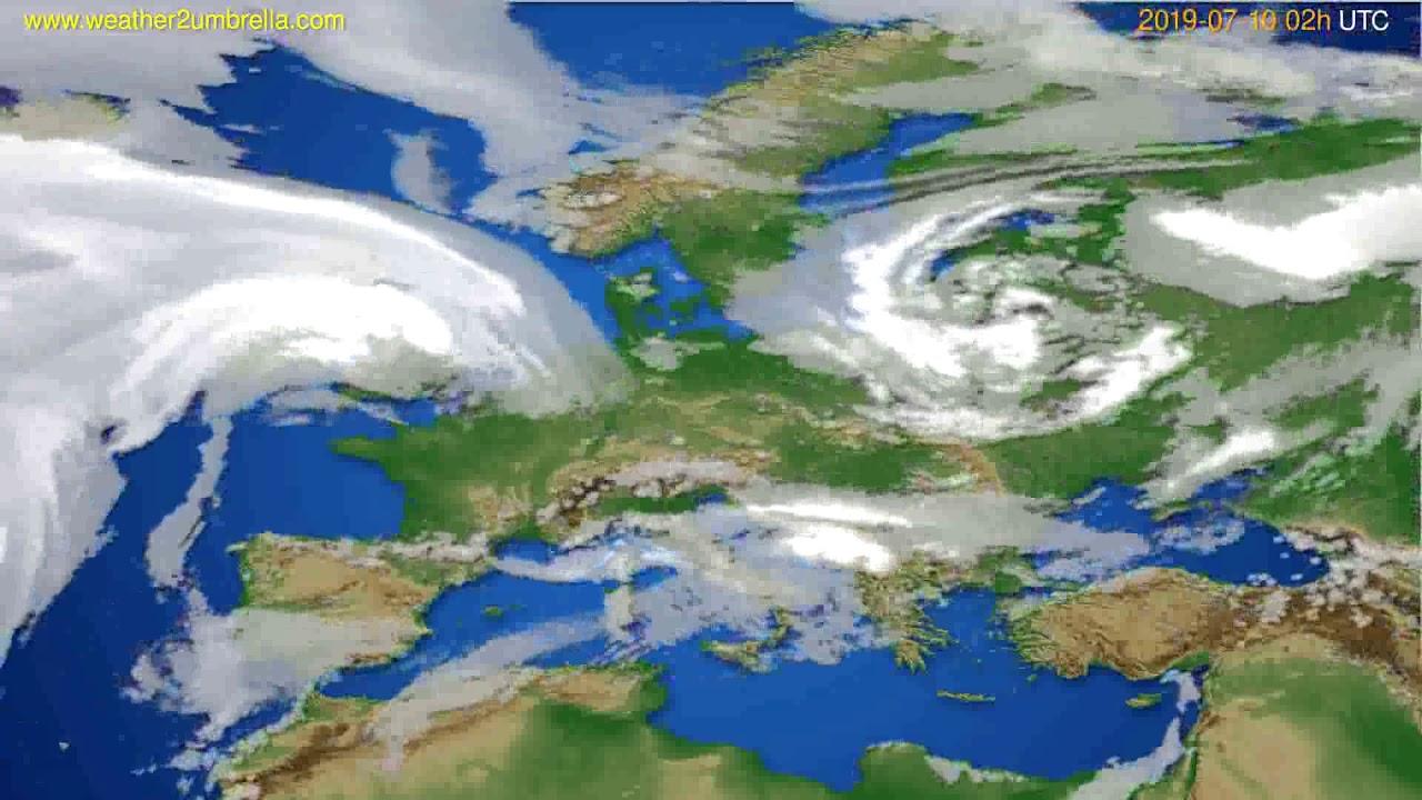 Cloud forecast Europe // modelrun: 00h UTC 2019-07-08