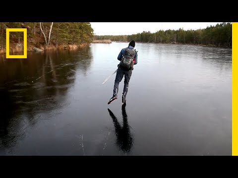 Hear the Otherworldly Sounds of Skating on Thin Ice | National Geographic (видео)