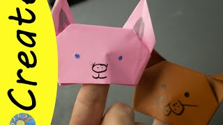 It's been so long but I'm back with some finger puppets - use pink paper and pointy ears for a pig, folded ears for a dog or grey ears and draw in some stripes for a cat.  Fun and easy to make!  Put on a puppet show with your friends