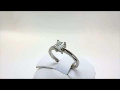 Platinum 0.33 Princess Cut Single Solitaire Diamond Engagement Ring