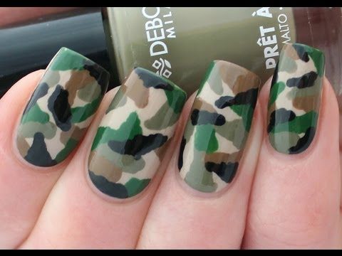 camouflage nail art - tutorial