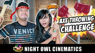 Video Axe Throwing Challenge! Aiken vs Aurelia MP3, 3GP, MP4, WEBM, AVI, FLV Maret 2019