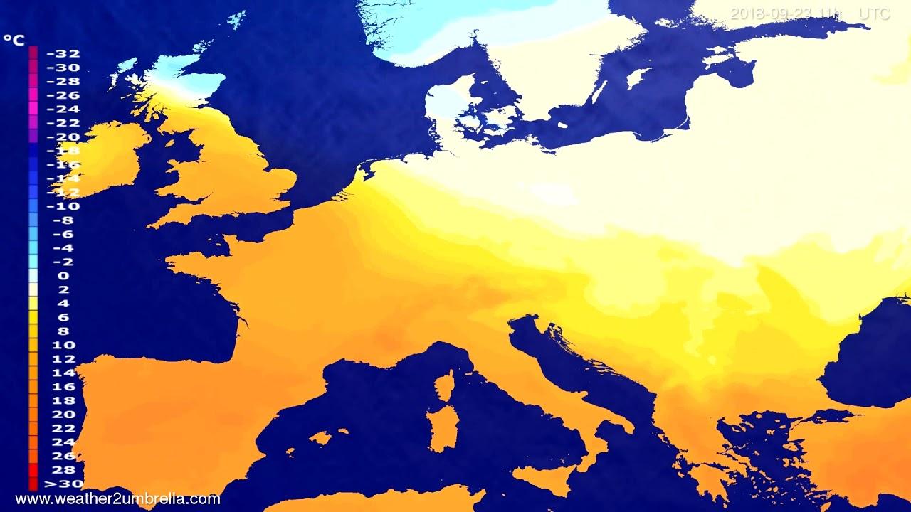 Temperature forecast Europe 2018-09-19
