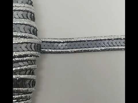 Passamanaria Galão Prata E Chumbo Paetê 15mm