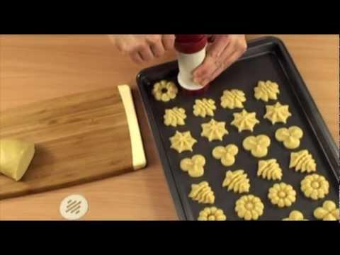 Видео Аксессуары для выпечки  Пресс для теста/шприц кондитерский TESCOMA Delicia 630534 пластик
