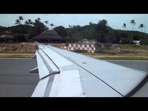Bangkok Airways A319 Take off  From Koh Samui Airport