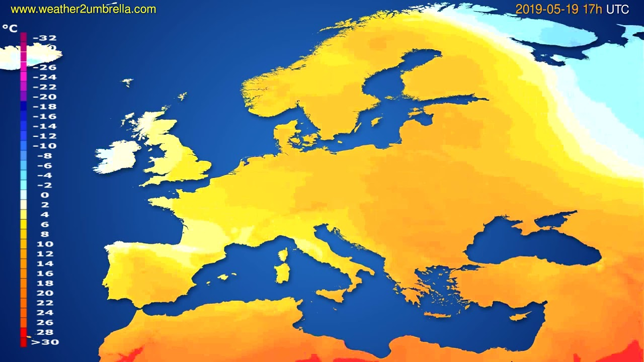 Temperature forecast Europe // modelrun: 00h UTC 2019-05-18