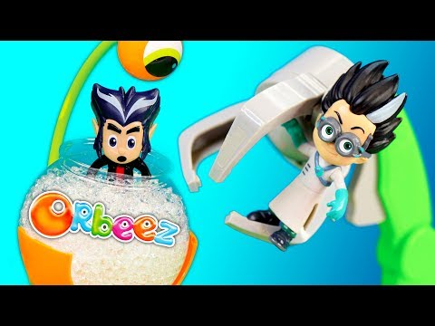 PJ Masks Romeo Uses Claw to Search for Orbeez Surprises with Incredibles