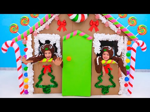 Vlad and Niki pretend play and make Gingerbread House