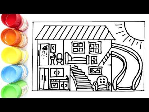 Cara Menggambar dan Mewarnai Rumah Tingkat yang ada Serodotannya
