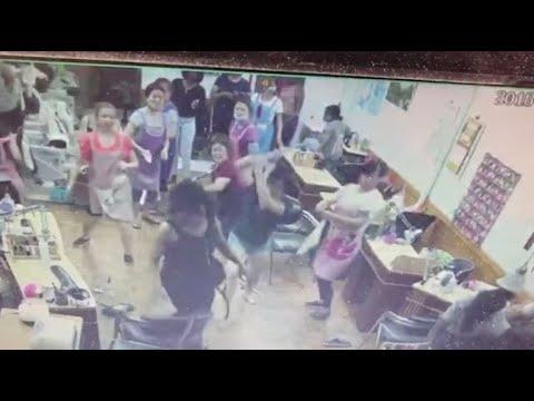 Nail salon brawl caught on surveillance, sparks protests