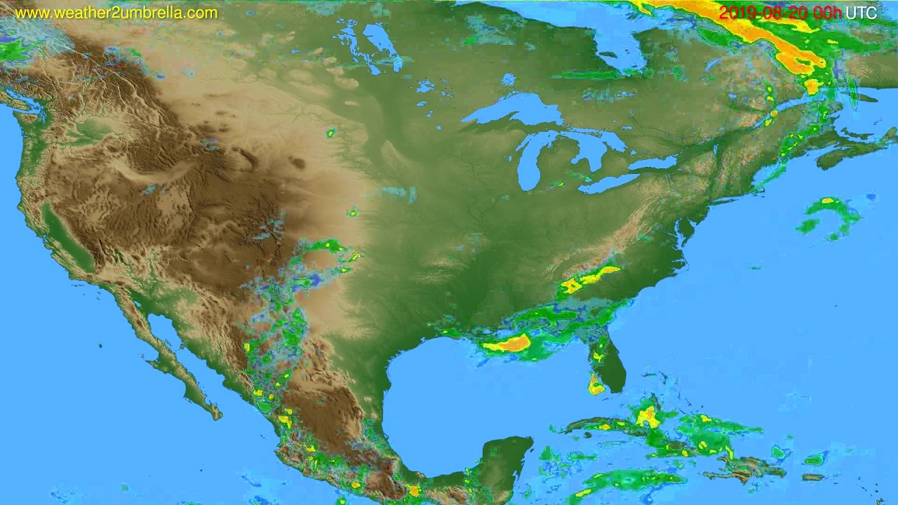 Radar forecast USA & Canada // modelrun: 12h UTC 2019-08-19