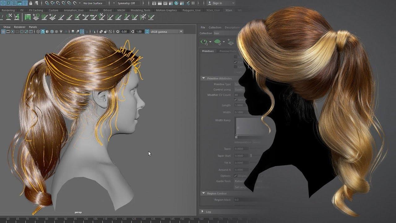 creating hairstyle female 3d xgen maya tutorial