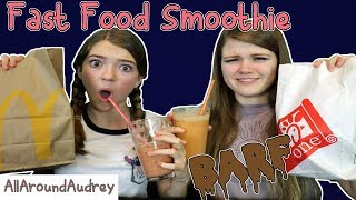 Hey guys! In today's video my sister JustJordan33 and I will be drinking a smoothie made from several fast food items! This challenge was super gross and definitely one of the nastiest things we have drank. We hope you enjoy!Check out my Fast Food Fondue Challenge: https://www.youtube.com/watch?v=oUgfiExrN4U__Subscribe for videos every Thursday!☆http://www.youtube.com/channel/UCS0kA-D1M87dDfkWRl_DLJA?sub_confirmation=1Comment down below what your favorite fast food place is!♡Like this video if you enjoyed!Here are some more videos I think you might like:Operation Slime Challenge: https://www.youtube.com/watch?v=FycQVuqxORwCoke and Mentos Challenge: https://www.youtube.com/watch?v=ZZD0C2Fu-vsLip Retractor Challenge: https://www.youtube.com/watch?v=IXKf89bTx_EFast Food Fondue Challenge: https://www.youtube.com/watch?v=oUgfiExrN4URainbow Ice Bath Challenge: https://www.youtube.com/watch?v=sM8tujZbsLUNever Have I Ever: https://www.youtube.com/watch?v=n340lu1BIpYTwisted Twister:  https://www.youtube.com/watch?v=XzR_twNyxSEHungry Hungry Hippos Game Twist: https://www.youtube.com/watch?v=Z0kuKpzfh0YFamily Lip Retractor Challenge: https://www.youtube.com/watch?v=y_ridJVmS8EYou can send fanmail! AllAroundAudreyP.O. Box 6792N. Logan, Utah 84341__Follow Me On:Instagram- https://instagram.com/allaroundaudrey/Twitter- https://twitter.com/AllAroundAudreyFacebook- https://www.facebook.com/AllAroundAudrey?ref=profilePinterest- https://www.pinterest.com/allaroundaudrey/Musical.ly- AllAroundAudreyYouNow: AllAroundAudrey__♡ My Sister's Channel: https://www.youtube.com/channel/UCHOMvu3axPhTG5zLqrHynig♡ My Brothers' Channel: https://www.youtube.com/channel/UCCHmMn-aFceiyb81Z-fu-zw♡ Our Family Channel: https://www.youtube.com/channel/UCbZgDzTkBQMkPWYBFESJ3sQ♡ Check Out My Previous Video: https://www.youtube.com/watch?v=_4uz9oYtHFE♡ For Business Inquiries: AllAroundAudrey99@gmail.com__Music Credits:Fun in a Bottle by Kevin MacLeod is licensed under a Creative Commons Attribution license (https://creativecommons.org/licenses/by/4.0/)Source: http://incompetech.com/music/royalty-free/index.html?isrc=USUAN1300047Artist: http://incompetech.com/Jaunty Gumption by Kevin MacLeod is licensed under a Creative Commons Attribution license (https://creativecommons.org/licenses/by/4.0/)Source: http://incompetech.com/music/royalty-free/index.html?isrc=USUAN1300017Artist: http://incompetech.com/Rags 2 Riches Rag by Audionautix is licensed under a Creative Commons Attribution license (https://creativecommons.org/licenses/by/4.0/)Artist: http://audionautix.com/__Thanks for Watching!XOXO,Audrey