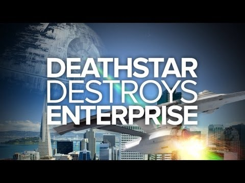 Death - RT! http://bit.ly/13pXce2 FB! http://on.fb.me/16CB4Uz It's Star Trek vs. Star Wars in the skies over San Francisco! Which would win in a battle, the Death St...